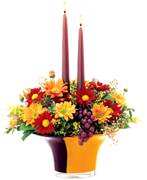 For Miami Thanksgiving: Stunning, bright, translucent Autumn colors–amethyst, amber and orange–shine in this glossy, weighted. beauty, creating a magnificent setting for an impressive harvest arrangement
