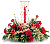 Miami Christmas: Created to resemble an old-style leaded-glass window, our sparkling, gold-toned holiday hurricane. A merry arrangement of greens, ornaments and blooms completes this twinkling centerpiece–perfect for any festive occasion ORDER NOW