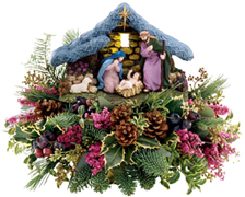 The Miami Christmas spirit shines forth in this joyful, hand-painted Nativity scene – an expression of faith. Mary and Joseph attend reverently to the baby Jesus under a gilded Star of Bethlehem, watched by a baby lamb… while a soft light shines upon them from within the rustic manger. ORDER NOW