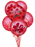 ADD to your FLORAL gift and make a big impression, give them this fun Balloon Bouquet. The bouquet arrives with 6 mylar balloons tied together with a ribbon. I Love You balloon for Valentine