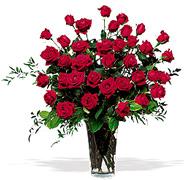 Click and Order on Time your 36 Perfect RED Roses with a clear base, greens and white/green available fillers, Order now to Schedule our PROFESSIONAL MOTHER's DAY DELIVERY
