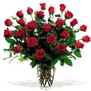 Click and Order on Time your 24 Perfect RED Roses with a clear base, greens and white/green available fillers, Order now to Schedule Delivery