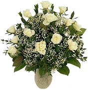 Click and Order on Time your 12 Perfect WHITE Roses with a clear base, greens and white/green available fillers, Order now to Schedule Delivery