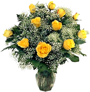 Click and Order on Time your 12 Perfect YELLOW Roses with a clear base, greens and white/green available fillers, Order now to Schedule Delivery