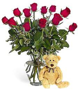 Roses and Teddy Bear a perfect combination for your special occassion, We understand that VIP occassion it means VIP flowers arrangement and Terra Flowers offers the best with this cute and elegant roses arrangement